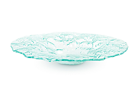 front view of the Phillips Collection Large Bubble Bowl made of glass with a turquoise sheen that is stamped with a flowing bubble pattern