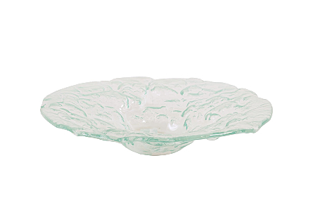 front view of the Phillips Collection Small Bubble Bowl made of glass with a turquoise sheen that is stamped with a flowing bubble pattern