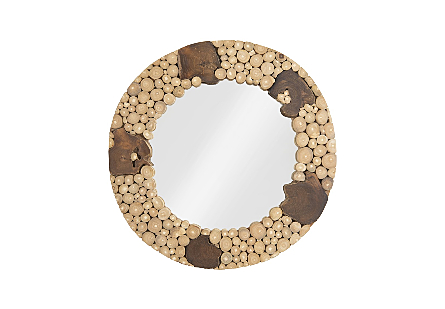 Teak Patch Stick Mirror Round, SM