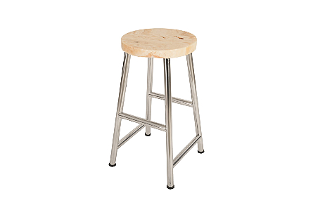 Onyx Bar Stool Stainless Legs, Round