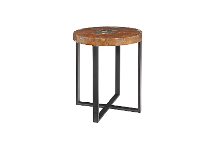 Glitz Side Table Black Metal Base
