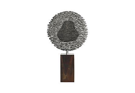 Metallurgy Sculpture Round, Wood/SS