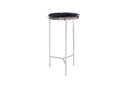 Petrified Wood Beverage Table Black, SM
