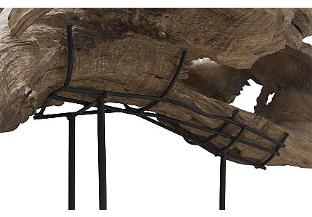 Teak Wood Sculpture, Metal Stand