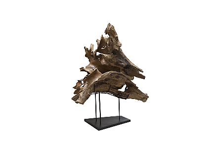 Teak Wood Sculpture, Metal Stand