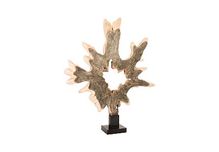 Teak Wood Sculpture on Stand assorted