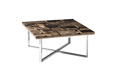 Petrified Wood Coffee Table Stainless Steel Base, Glossy