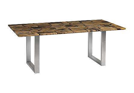 Petrified Wood Mosaic Dining Table Light Brown, Stainless Steel Legs