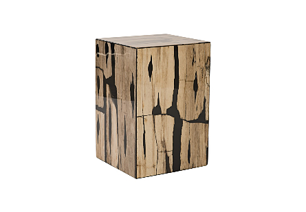 Petrified Wood Mosaic Stool Light Brown
