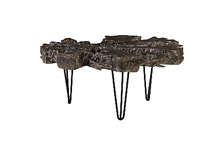 Round Top Coffee Table Black Wash Finish