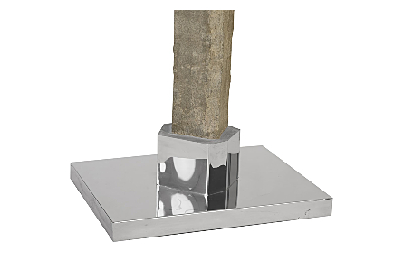 Splinter Stone Sculpture Metal Base