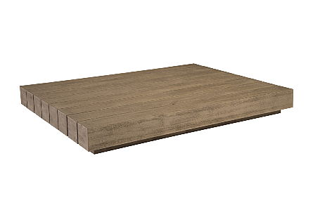 RH Coffee Table Block Weathered Grey