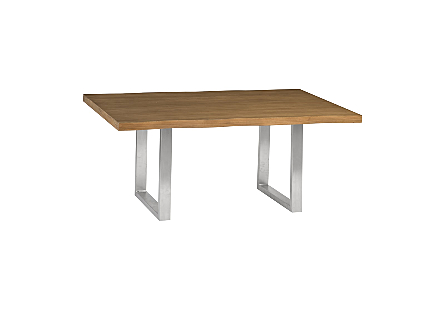 Live Edge Dining Table, Suar Wood Brushed Stainless Steel Legs