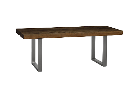 Origins Dining Table, Straight Edge Merbau, Brushed Stainless Steel Legs