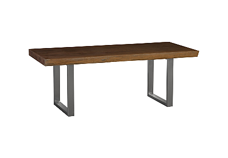 Live Edge Dining Table, Merbau Wood Stainless Steel Legs, Outdoor