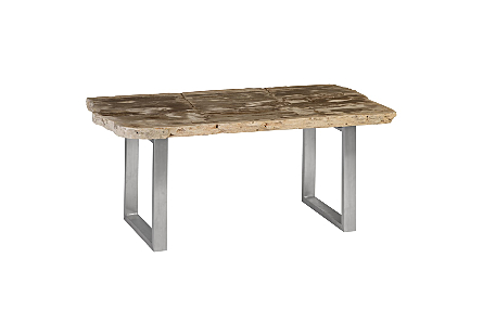 Petrified Wood Table MD, Stainless Steel Base