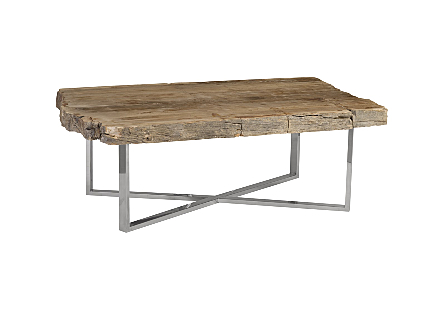 Petrified Wood Coffee Table Rectangle, Stainelss Steel Base