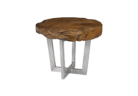 Origins Dining Table, Round Natural, Brushed Stainless Steel Legs