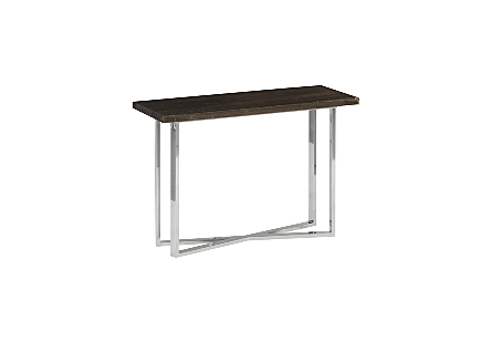 Petrified Wood Console Table SM, Stainless Steel Base