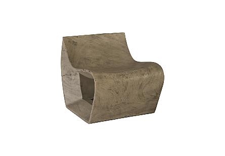 Smooth Chamcha Wood Chair Grey Stone