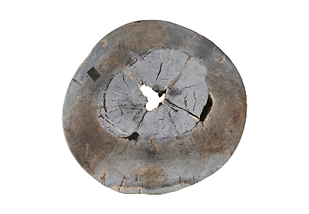 Petrified Wood Stool Round, Full Polish