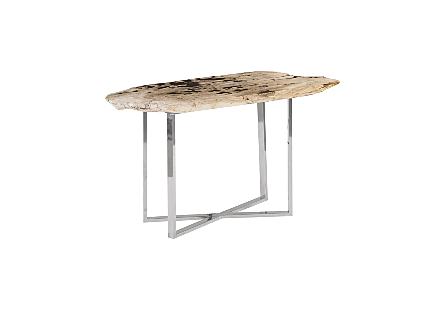 Petrified Wood Console Table Stainless Steel Base, White, Assorted