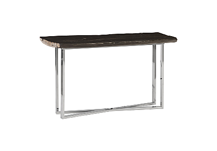 Petrified Wood Console Table Stainless Steel Base, Black, Assorted