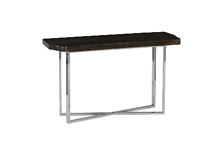 Petrified Wood Console Table Stainless Steel Base