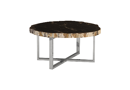 Petrified Wood Coffee Table Stainless Steel Base, Assorted