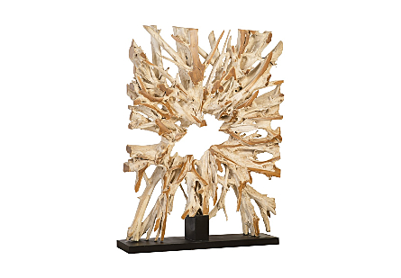 Teak Sculpture on Stand