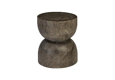 Hour Glass Stool, Suar Wood Round