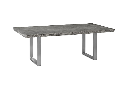 Venner Dining Table, Live Edge Gray, Brushed Stainless Steel Legs
