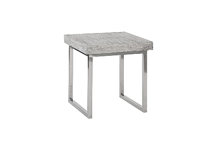 Grey Side Table Stainless Steel Base