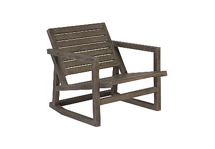 Slated Rocking Chair Charcoal