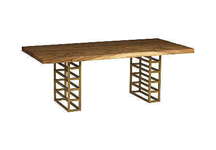 Ladder Dining Table Suar Wood, Natural/Brass Finish