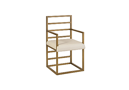 Ladder Arm Chair Natural/Brass Finish