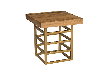Ladder Side Table Suar Wood, Natural/Brass Finish