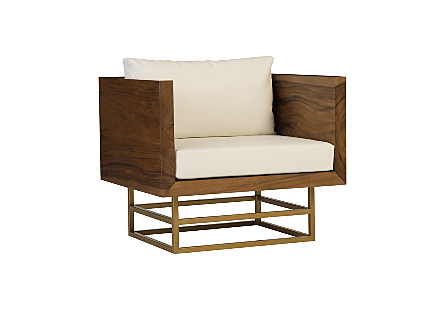Ladder Club Chair Suar Wood, Natural/Brass Finish