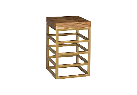 Ladder Counter Stool Suar Wood, Natural/Brass Finish