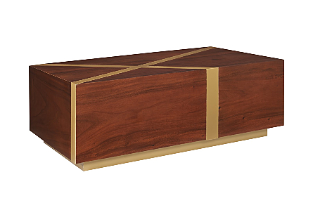 Intersection Coffee Table Natural/Brass Finish