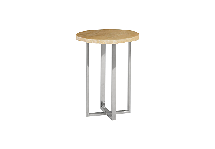Onyx Side Table Stainless Steel Base, Assorted