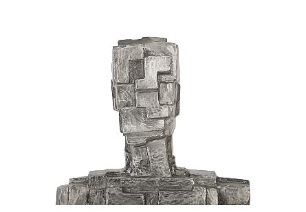 Puzzle Man Sculpture Black/Silver, Aluminum