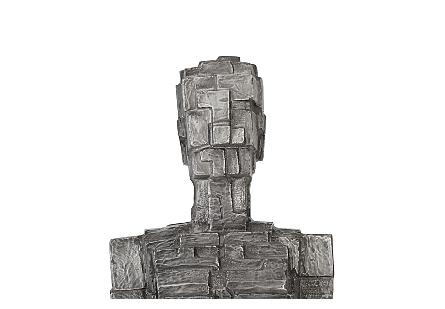Puzzle Woman Sculpture Black/Silver, Aluminum