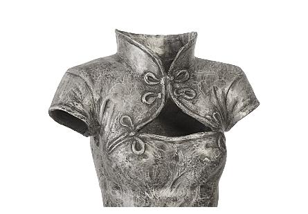 Dress Sculpture, Short Sleeves Black/Silver, Aluminum