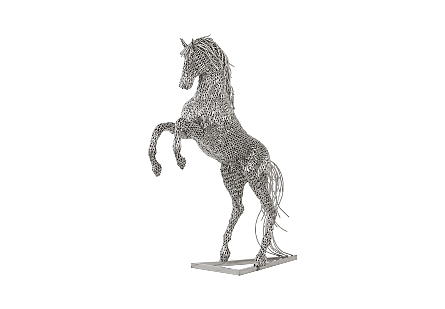 angled view of the Phillips Collection Rearing Horse Pipe Sculpture a large silver sculpture shaped like a galloping horse designed by Timbul Raharjo