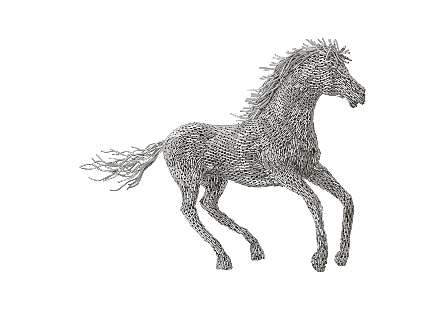 Horse Pipe Sculpture Galloping, Stainless Steel