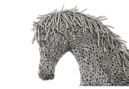 Horse Pipe Sculpture, Walking Stainless Steel