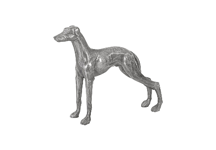 angled view of the Phillips Collection Posing Dog Sculpture made of aluminum in a variegated finish in which black and silver bring it added patina