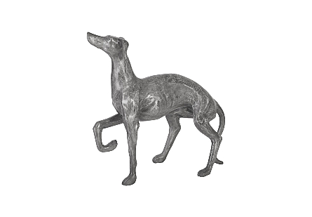 angled view of the Phillips Collection Prancing Dog Sculpture made of aluminum in a variegated finish in which black and silver bring it added patina