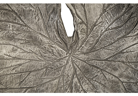 Lotus Leaf Wall Tiles Set of 3, Black/Silver, Aluminum